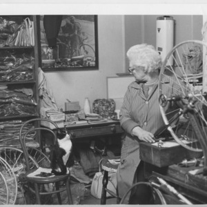 Mrs Pat Hanlon at her bicycle repair shop