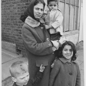 Immigrant mother and children, Liverpool Road, London