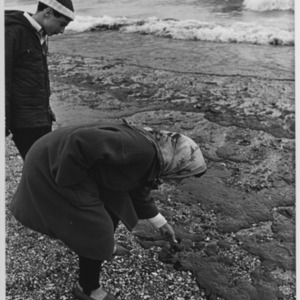 Mount's Bay, Cornwall.  A woman and a boy survey the damage caused by the oil spill from the Torrey Canyon.