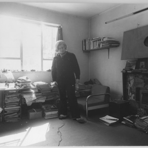 Self-portrait of Serena Wadham in her  studio at Flat 5 Noel Road Islington.