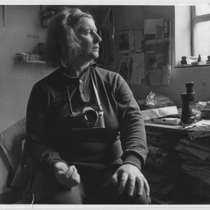 Serena Wadham, Self-portrait, in her studio in Islington, London<br />