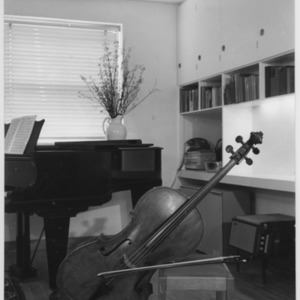 Amaryllis Fleming's cello in her flat in London