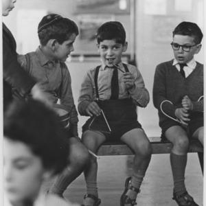 Boys in a music class