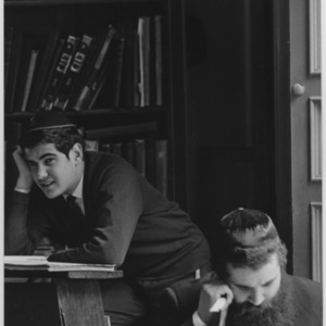 Jewish students studying in the library.